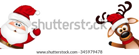 Funny Santa and Reindeer  - stock vector