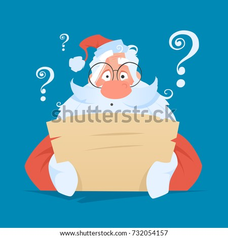 Funny santa claus reading a letter with question face expression Color vector illustration