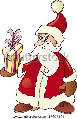 Funny Santa Claus smiling with gift on his hand
