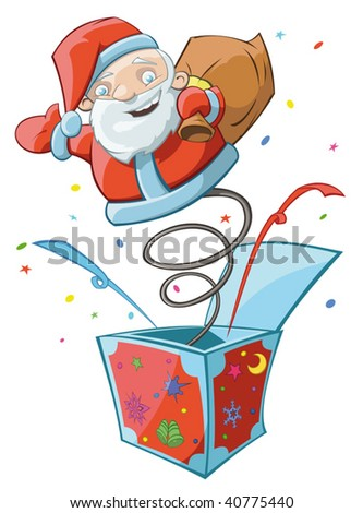 Funny Santa Claus toy is jumping out from the colorful box - stock vector