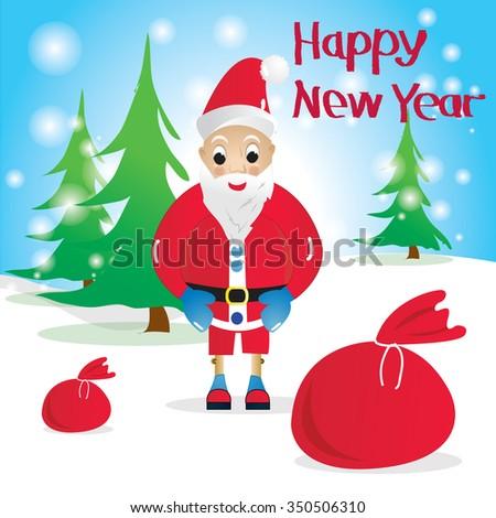 Funny Santa Claus.Vector christmas illustration of santa claus. Illustration of Santa Claus. Santa Claus on a background of trees. Santa Claus with red bag - stock vector