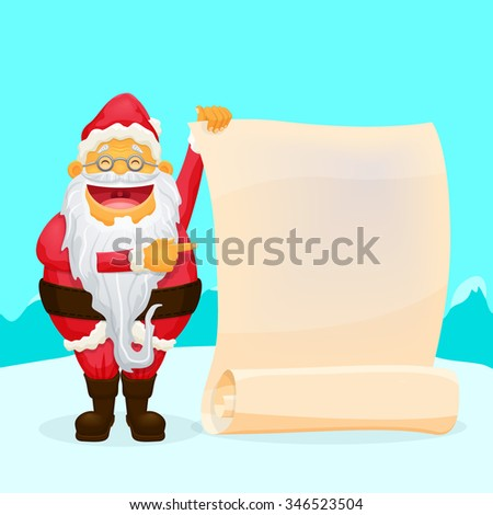 Funny Santa Holding Blank Scroll Cool character for your designs - stock vector