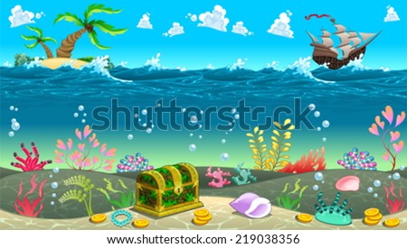 funny scene under sea vector cartoon stock vector royalty free rh shutterstock com Cartoon Beach Scene Under the Sea Scene Cartoon