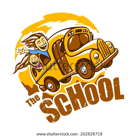 Funny school bus vector illustration. Vector print.  - stock vector