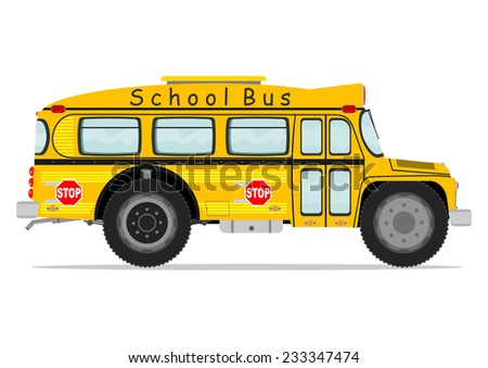 Funny school bus. Vector illustration without gradients on one layer.