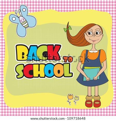 Funny schoolgirl - stock vector