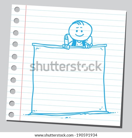 Funny schoolkid and empty banner - stock vector
