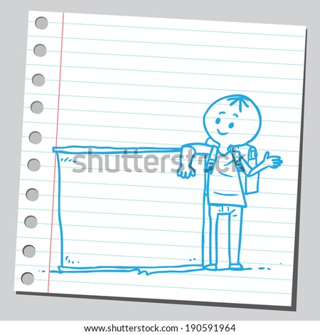 Funny schoolkid holding  banner - stock vector