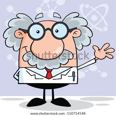 Funny Scientist Or Professor Smiling And Waving  - stock vector