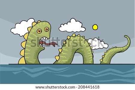 Funny sea snake, dragon, vector illustration - stock vector