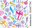 funny seamless pattern of birthday with hand drawn elements - stock vector