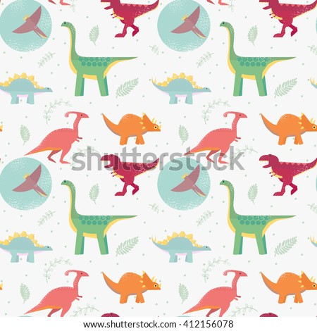 Funny seamless pattern with cute dinosaurs in cartoon flat style. Perfect for cards, invitations, party, banners, kindergarten, preschool and children room decoration. Childish background. - stock vector