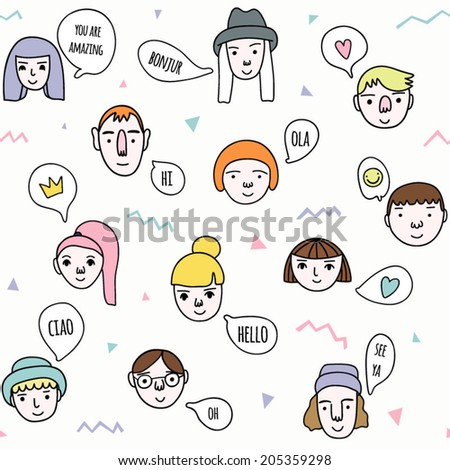 Funny seamless pattern with cute faces and speech bubbles. Conversation and communication background. Pattern with cartoon people.  - stock vector