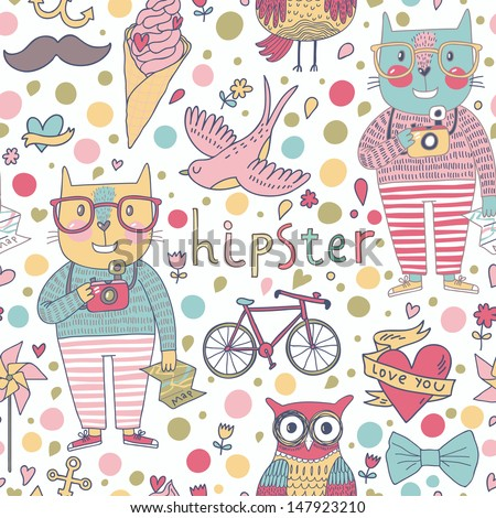 Funny seamless pattern with hipster cats, cameras, glasses, swallow, ice cream, mustache, bicycle, owl. Travel vacation vector texture. - stock vector