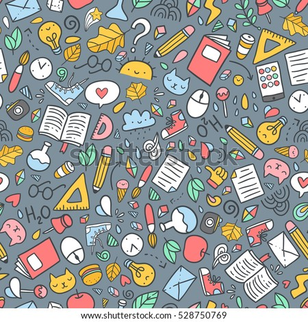 Funny Seamless Pattern School Supplies Creative Stock