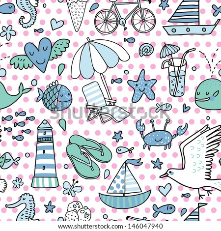 Funny seamless pattern with summer elements: lounge, seagull, umbrella, bicycle, ice-cream, crab, whale, cocktail, lighthouse, fishes, yacht, seahorse. Cute vector vacation texture. Holiday background