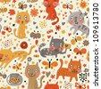 Funny seamless texture with cats and butterflies. Endless floral pattern.Seamless pattern can be used for wallpaper, pattern fills, web page background,surface textures. - stock vector