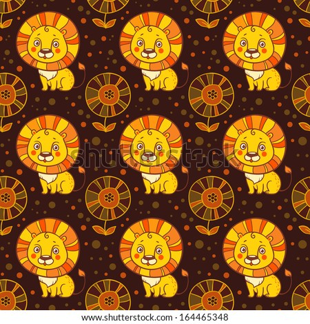 Funny seamless vector pattern with lions and flowers. Baby seamless pattern of cute little lion.