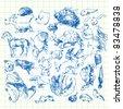 funny set - animals - doodles - stock vector