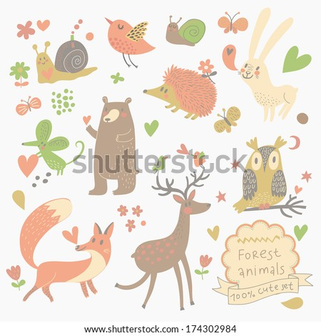 Funny set of cute wild animals in the forest: fox, bear, hedgehog, rabbit, snail, deer, owl, bird, mouse. Vintage set - stock vector