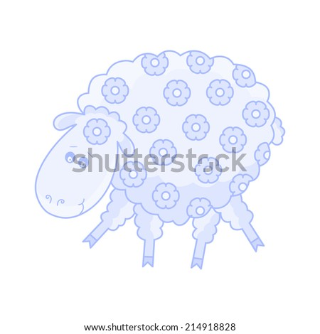 Funny Sheep Cartoon Character - stock vector