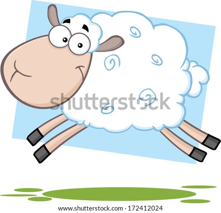 Funny Sheep Cartoon Mascot Character Jumping. Vector Illustration  - stock vector