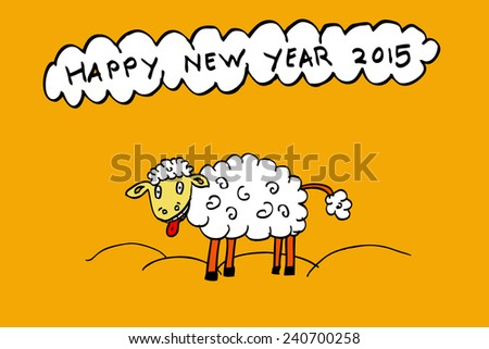 funny sheep enjoy new year 2015  - stock vector
