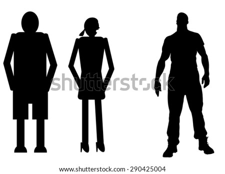 funny silhouette icon dolls and sexy man - stock vector
