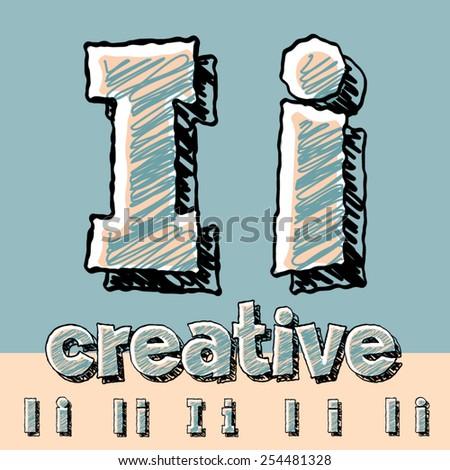 Funny sketch alphabet. Vector illustration of hand drawing font. Letter I - stock vector