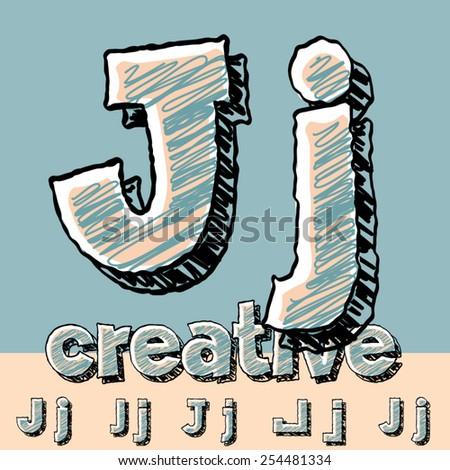 Funny sketch alphabet. Vector illustration of hand drawing font. Letter J - stock vector