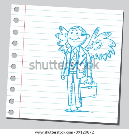 Funny sketch of a businessman having wings