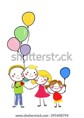Funny sketch of a happy family - stock vector