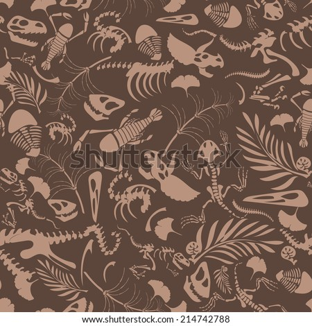 Funny sketchy fossil animals and plants. EPS8 seamless pattern - stock vector