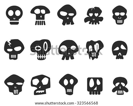 funny skull icons set - stock vector
