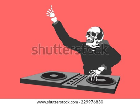 funny skull skeleton dj day of the dead 1.1 - stock vector