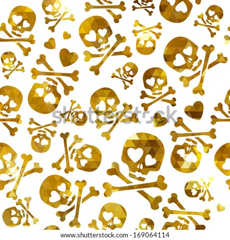 Funny skulls in love - seamless golden pattern. Good for Valentine's Day design. - stock vector