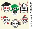 Funny skulls, smiles, various emotions and characters, CMYK, EPS8 - stock photo