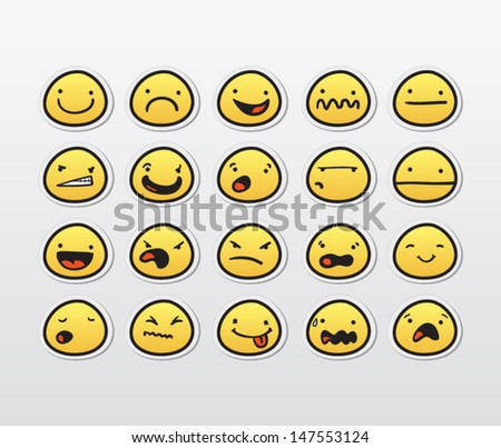 Funny smiley faces with different expressions - stock vector