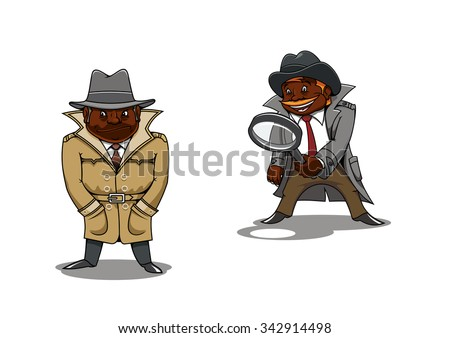 Funny smiling and serious black detectives or spy cartoon characters, one of them with magnifier in hand. For profession or investigation concept theme - stock vector