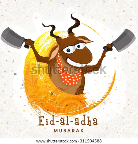 Funny smiling goat holding cleaver knife in both hands for Islamic Festival of Sacrifice, Eid-Al-Adha celebration. - stock vector