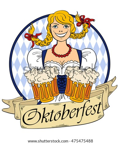 Funny smiling Oktoberfest girl with glasses of beer. Isolated on a white background.