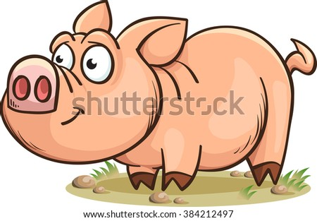 funny smiling pig, cartoon vector illustration, isolated on white