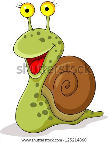 Funny snail cartoon - stock vector