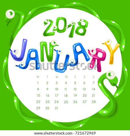 Funny Snake Shaped Alphabet 2018 Calendar Stock Vector 721672969 ...