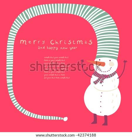 Funny snowman. Cartoon Christmas card - stock vector