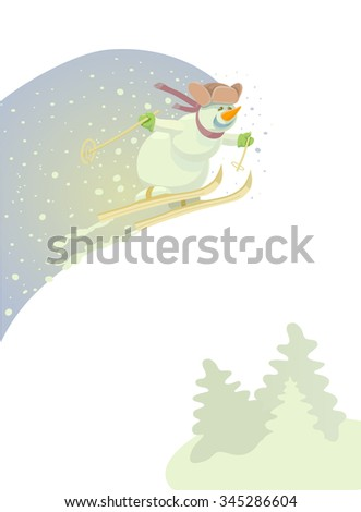 Funny snowman skiing. Cute skier jumps from a springboard in winter background. Vector illustration. Vintage new year postcard. - stock vector
