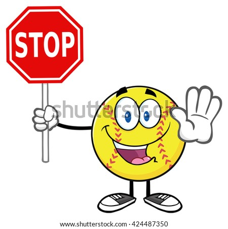Funny Softball Cartoon Mascot Character Gesturing And Holding A Stop Sign. Vector Illustration Isolated On White Background - stock vector