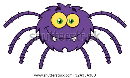 Funny Spider Cartoon Character. Vector Illustration Isolated On White - stock vector