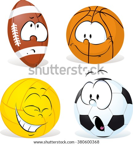 funny sport ball cartoon isolated - vector illustration - stock vector