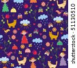 Funny spring childish cute seamless pattern - stock photo